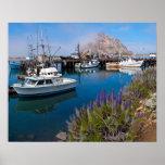 USA, Kalifornien. Angekoppelte Boote an Morro Poster