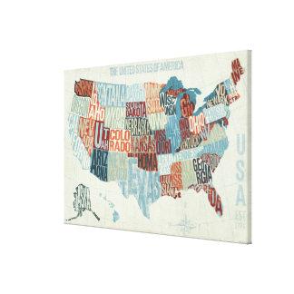 USA-Karte mit Staaten in den Wörtern Galerie Faltleinwand