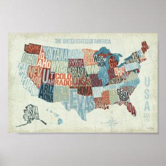 USA-Karte mit Staaten in den Wörtern Poster