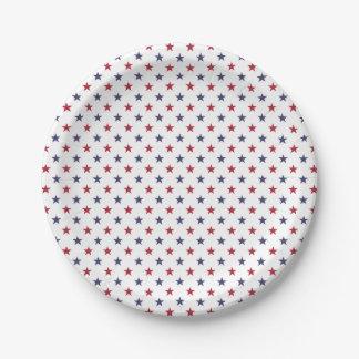 USA kennzeichnen Rot und kennzeichnen blaue Sterne Pappteller 17,8 Cm