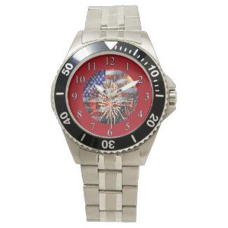 USA kennzeichnen und Feuerwerke Armbanduhr