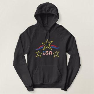 USA-Logo Bestickter Hoodie