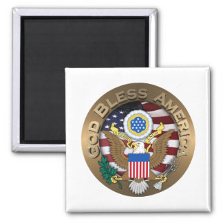 USA-Siegel - Gott segnen Amerika Quadratischer Magnet