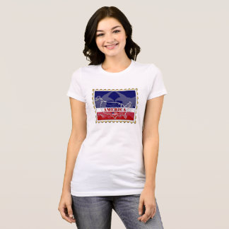 USA-Staats-Namen auf Briefmarken-T - Shirt