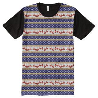 USA-Stern-roter kahler Adler-blauer Platten-T - T-Shirt Mit Komplett Bedruckbarer Vorderseite