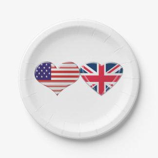 USA und BRITISCHE Herz-Flaggen-PapierTeller Pappteller