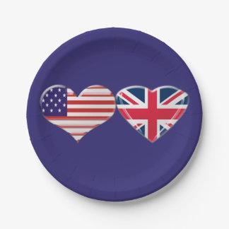 USA und BRITISCHE Herz-Flaggen-PapierTeller Pappteller 17,8 Cm