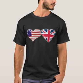 USA und BRITISCHER Herz-Flaggen-Entwurf T-Shirt