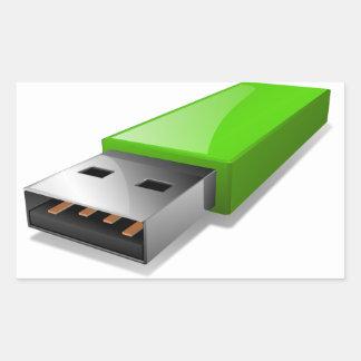 USB-Blitz-Antriebs-Aufkleber Rechteckiger Aufkleber