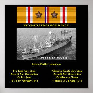 USS ESTES AGC-12 LCC-12 POSTERS