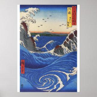 Utagawa Hiroshige, wildes Meer, das auf den Felsen Poster