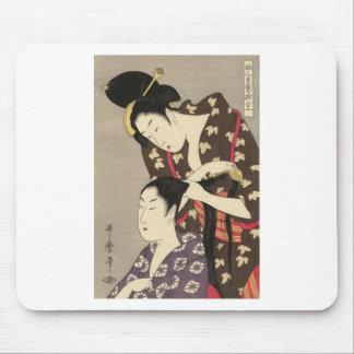 Utamaro Yuyudo Ukiyo-e die Frisur der Frauen Kunst Mousepad