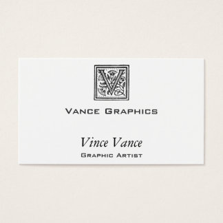 V Initiale von einem Mönch der Pfeife Visitenkarten