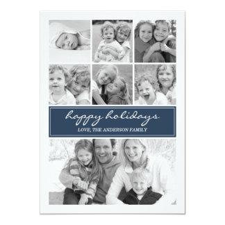 Vacances multi Photocard - marine /Blue de collage Carton D'invitation 12,7 Cm X 17,78 Cm