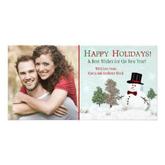 Vacances Photocard de bonhomme de neige de photo Photocartes
