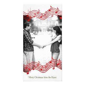 Vacances rouges de photo de musique de Noël Cartes De Vœux Avec Photo