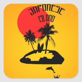 Vacances sur une île japonaise sticker carré