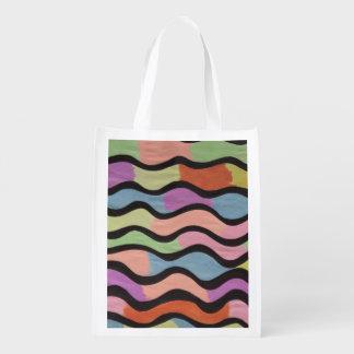 Vagues colorées sacs d'épicerie réutilisables