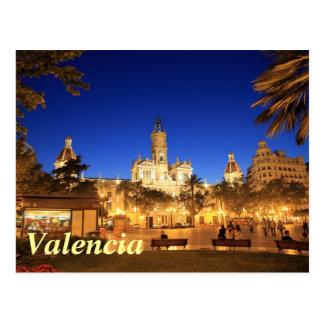 Valencia: Piazza Ayuntamiento bis zum Nacht Postkarte