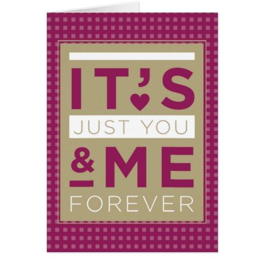 Valentine-Liebe Sie u. ich für immer lila Grußkarte