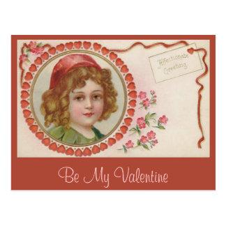 Valentine-Mädchen-Vintage Postkarte