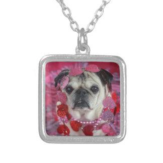 Valentine-Mopshalskette Halskette Mit Quadratischem Anhänger