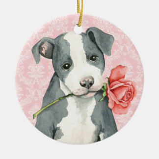 Valentine-Rosen-Grube Stier Keramik Ornament