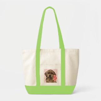 Valentine-Rosen-Schokoladen-Labrador Tragetasche