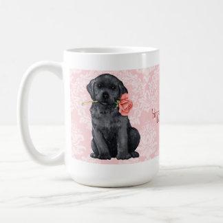 Valentine-Rosen-Schwarz-Labrador Kaffeetasse