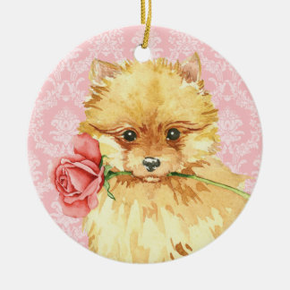Valentine-Rosen-Spitz Keramik Ornament