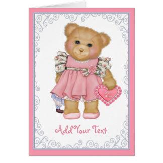 Valentine Teddy Greetings Grußkarte