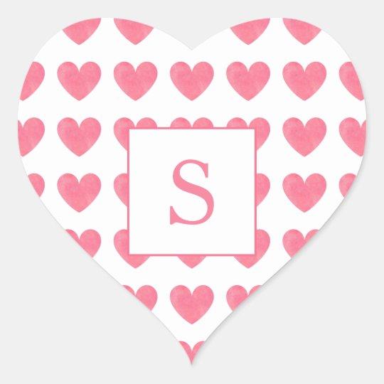 Valentinsgruß-Aquarell-Rosa-Herz-Muster-Monogramm Herz-Aufkleber ...