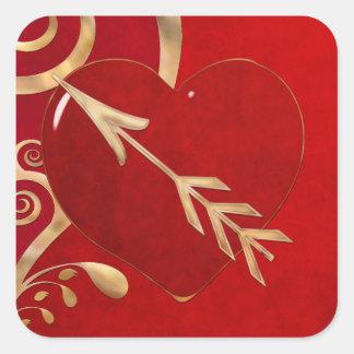 Valentinsgruß-Eleganz 1 Quadratischer Aufkleber