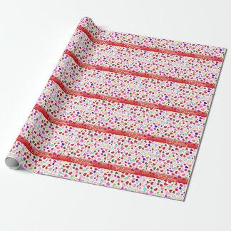 Valentinsgruß-Herz-buntes multi weißes Geschenkpapier