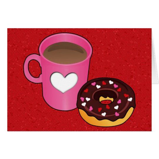 Valentinsgruß-Kaffee-und Krapfen-Karte Karte
