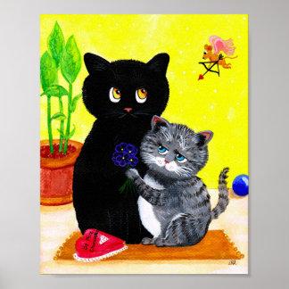 Valentinsgruß-lustiger Katzen-Amor Creationarts Poster