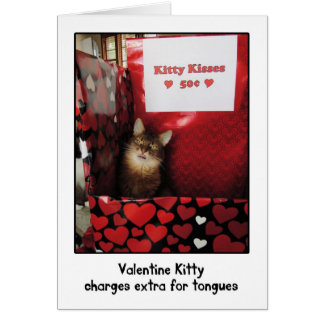 Valentinsgruß-Miezekatze-küssende Stand-Gruß-Karte Karte