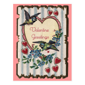 Valentinsgruß mit Vogelpostkarte Postkarte
