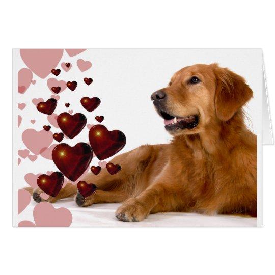 Valentinsgruß-roter Herz-golden retriever-Hund Karte