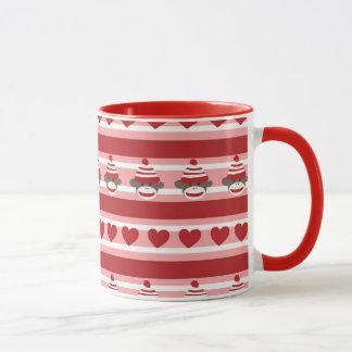 Valentinsgruß-Socken-Affe-Streifen Tasse