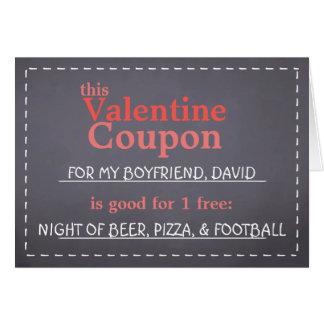 Valentinsgruß-Tafel-Kupon Karte
