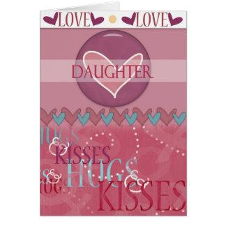 Valentinsgruß-Tochter umarmt und küsst Gruß-Karte Grußkarte