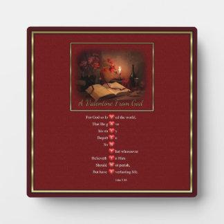 Valentinsgruß von der Gott-Plakette mit Gestell Fotoplatte
