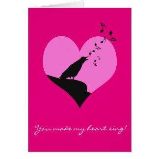 Valentinsgrußherzgefühl mit Gesangkrähe Karte