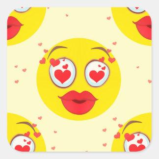 Valentinsgrußkuß Emoji Quadratischer Aufkleber
