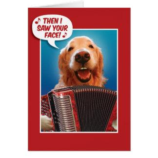 Valentinstag-Akkordeon-Spielender goldener Karte