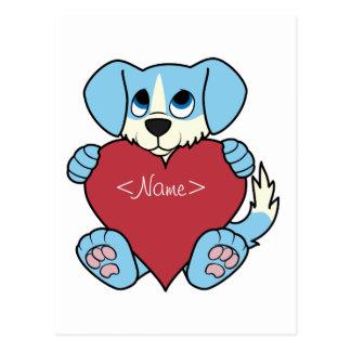 Valentinstag-blauer Hund mit rotem Herzen Postkarte