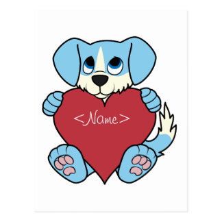 Valentinstag-blauer Hund mit rotem Herzen Postkarten