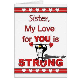 Valentinstag für Schwester, Pinguin-ABS u. Karte