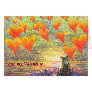 Valentinstag-Karte, Border-Collie u. Herzen Karte